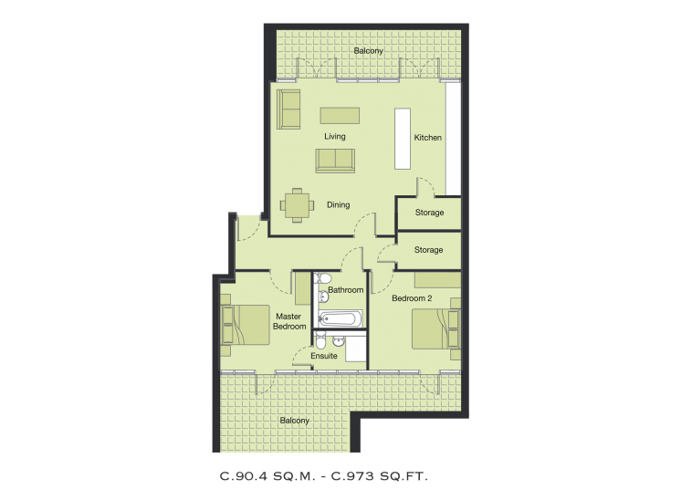2 Bedroom Apartment Floor Plans - Leona Apartments ...